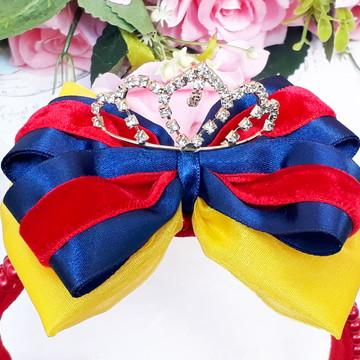 Tiara Princesa Vermelho azul e amarelo