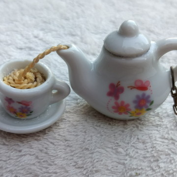 Colar Artesanal Hora Do Chá / Café Bule + Xícara Flor M - 3