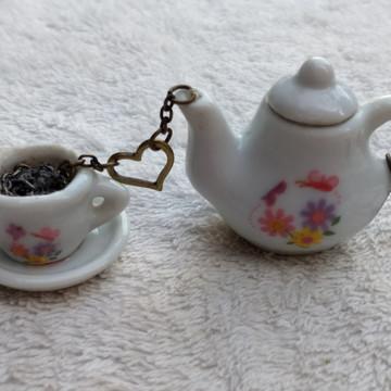 Colar Artesanal Hora Do Chá / Café Bule + Xícara Flor M - 4