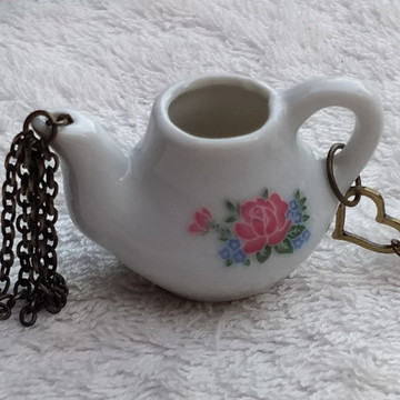 Colar Artesanal Hora Do Chá / Café Bule + Xícara Flor M - 5
