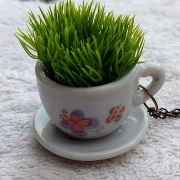 Colar Artesanal Mini Vaso De Planta - Xícara Borboleta G - 2