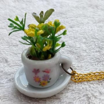 Colar Artesanal Mini Vaso De Planta - Xícara Borboleta P - 2