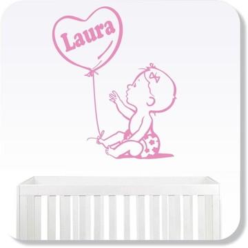Adesivo Quarto Infantil Bebê Feliz Menina - Com Nome