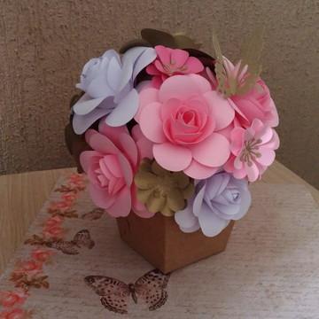 kit 2 Arranjos com 16 flores de papel