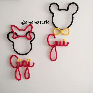 Nome em Tricotin + Desenho Minie ou Mickey