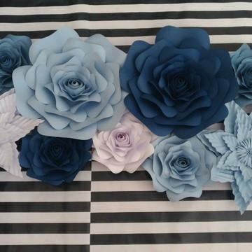 9 Flores Gigante De Papel 20cm E 24cm Decoraçao festa