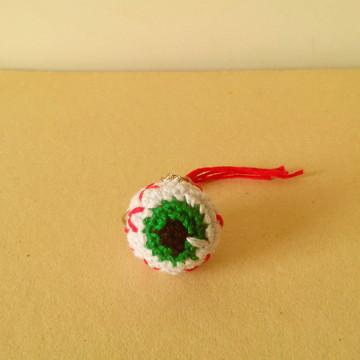 Chaveiro de Amigurumi - Olho Verde