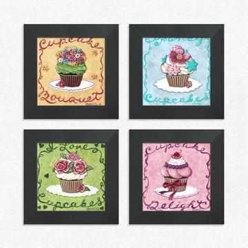 Quadros Decorativos Cozinha Cupcakes Flor Médio Comp1219