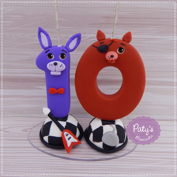 Vela Decorada 2 Dígitos FNAF (Five Nights at Freddy's)
