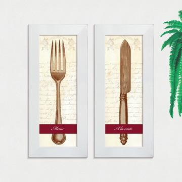 Quadros Decorativos Cozinha Garfo Faca Menu Pequeno Comp1230