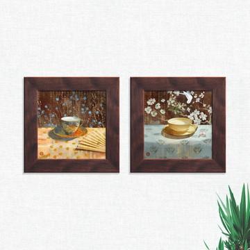 Quadros Decorativos Cozinha Xícaras Flores Pequeno Comp1238