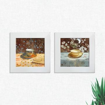 Quadros Decorativos Cozinha Xícaras Flores Médio Comp1238