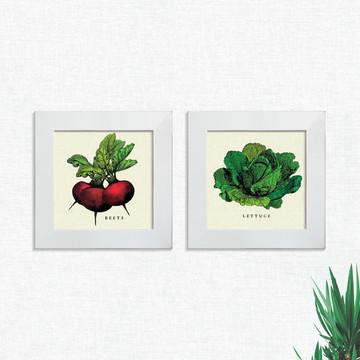 Quadros Decorativos Cozinha Alface Legumes Pequeno Comp1247