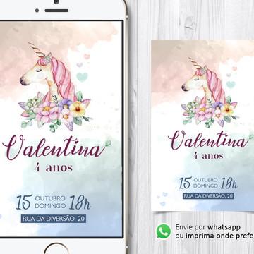 Convite Digital Infantil - Unicórnio