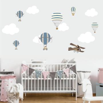 Adesivo De Parede Balões, Nuvens Avião Cachorrinhos decor