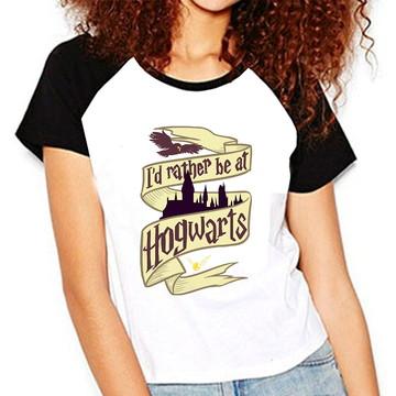 Camiseta Harry Potter Id Rather Be At Hogwarts Ron Raglan