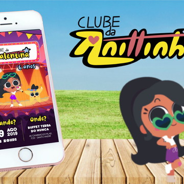 convite arte digital (virtual) tema clube anittinha