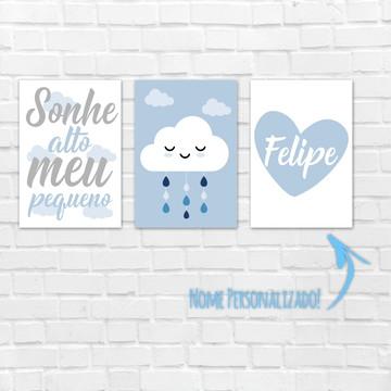 Placas Decorativas MDF - Sonhe Alto Meu Pequeno nuvem