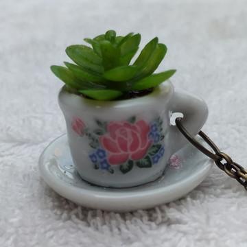Colar Artesanal Mini Vaso Suculenta + Xícara Flor P - 3