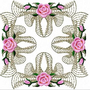 Matriz Bordado Quilt Rosas Delicado
