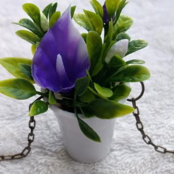Colar Artesanal Mini Vaso Mini Jardim MB1 Flor Antúrio Roxo