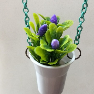 Colar Artesanal Mini Vaso Mini Jardim Mb2 - Flor Roxa