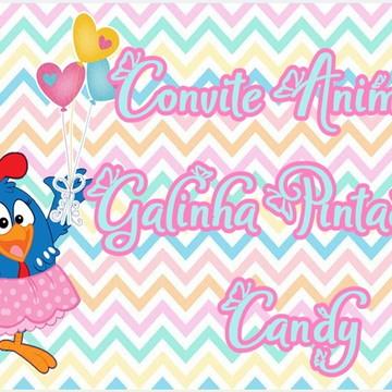 Convite Animado Galinha Pintadinha Candy MOD. 01 COM 5 FOTOS