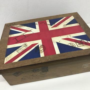 Caixa Decorativa Organizadora Bandeira Londres