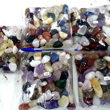 Pedra Rolada Mista Diversos Materiais Semi Preciosas 1kg