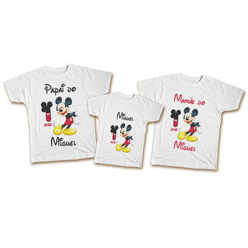 Kit Camiseta Personalizada Família - Aniversário Tema Mickey