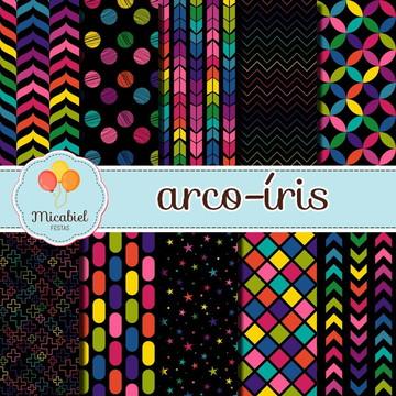 Papel Digital - Arco-íris (preto)