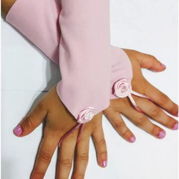 Luvas Rosa Infantil Festa Menina Princesa Fantasia 04 á 12