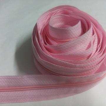 Zíper de nylon fino rosa beb~e