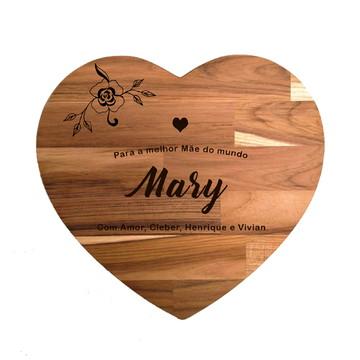Tábua de corte - Coração Personalizada p/ o Dia das Mães