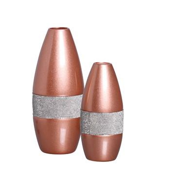 Par de Vasos para Aparador em Cerâmica Cor Rosê Com Strass