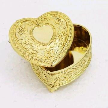 Mini Porta Jóias Coração Dourado