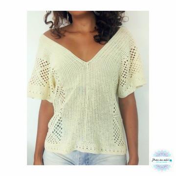 Blusa Croche Decote V