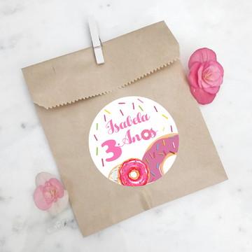 Adesivo Redondo para Lembrancinha Donuts