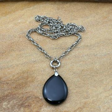 Colar de pedra preta prateado bijuterias acessorios da moda
