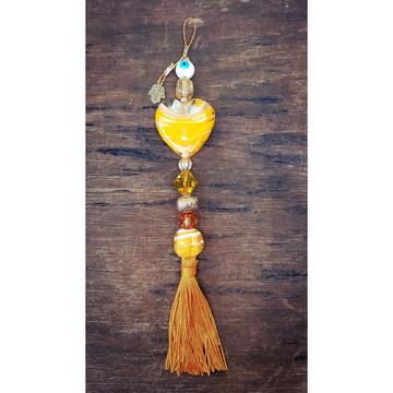 Pingente Coração Amarelo Orange Murano