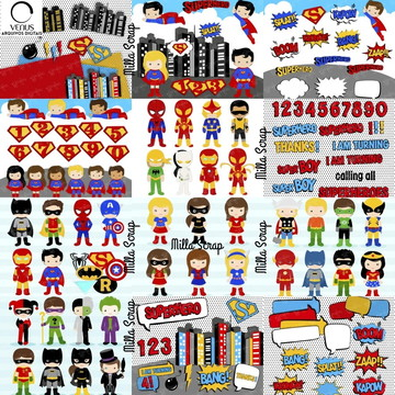 Heróis Kit Scrapbook Digital Heróis