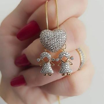 Colar coração com até 2 fihos(as) - semi joias finas