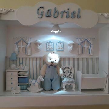 Enfeite de Porta de Maternidade Urso com vidro e Led