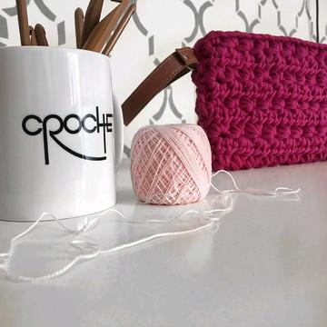 Clutch rosa de crochê