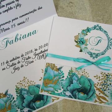 convite 15 anos floral azul tiffany e dourado