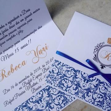 Convite 15 anos realeza azul royal