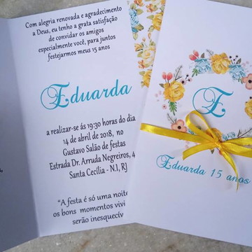Convite 15 anos floral amarelo e azul tiffany