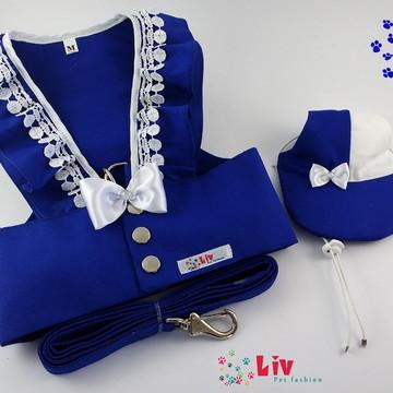Guia Peitoral Summer azul royal com Boné tamanho M