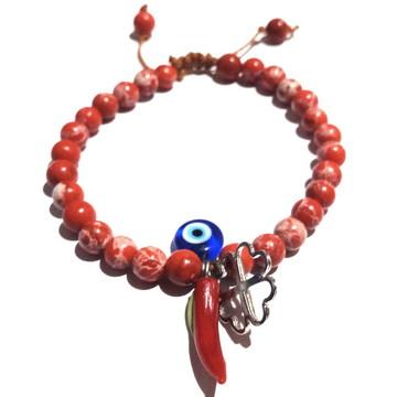 Pulseira Pedra Natural Jaspe Vermelho Contra Mau Olhado 6 MM