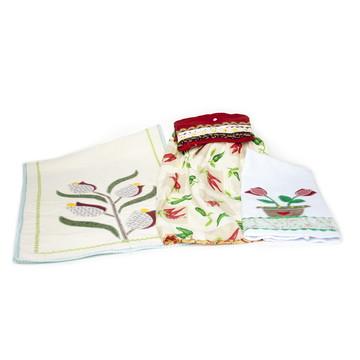 Kit para Cozinha - avental, pano de prato e trilho de mesa